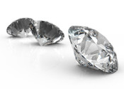 Diamonds isolated on white 3d model